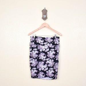 TORRID Grey Floral Stretchy Pencil Skirt 0X